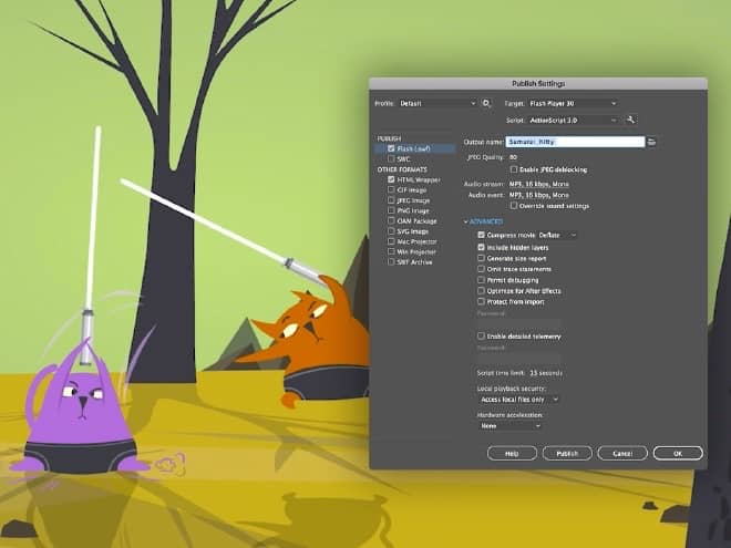 Adobe Animate 2021 mac破解版 发布到任何平台