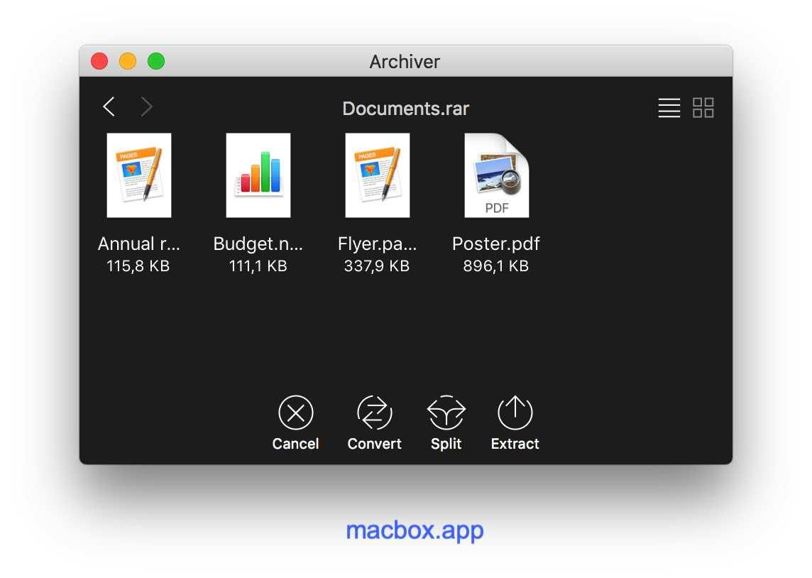 Archiver 预览压缩文件内容