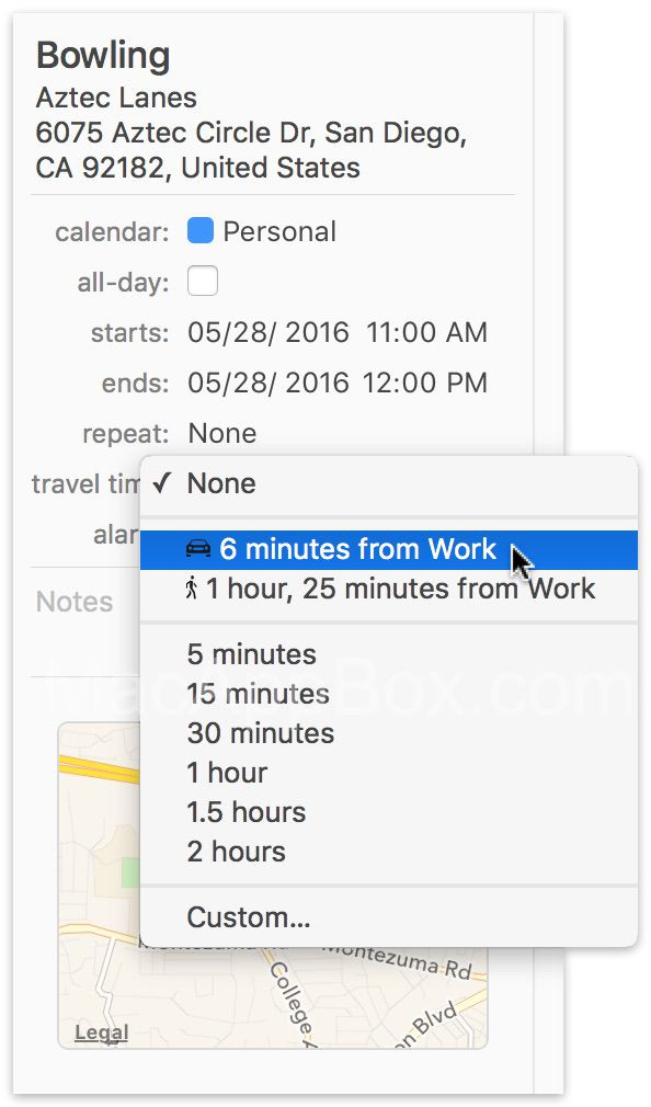 BusyCal旅行时间